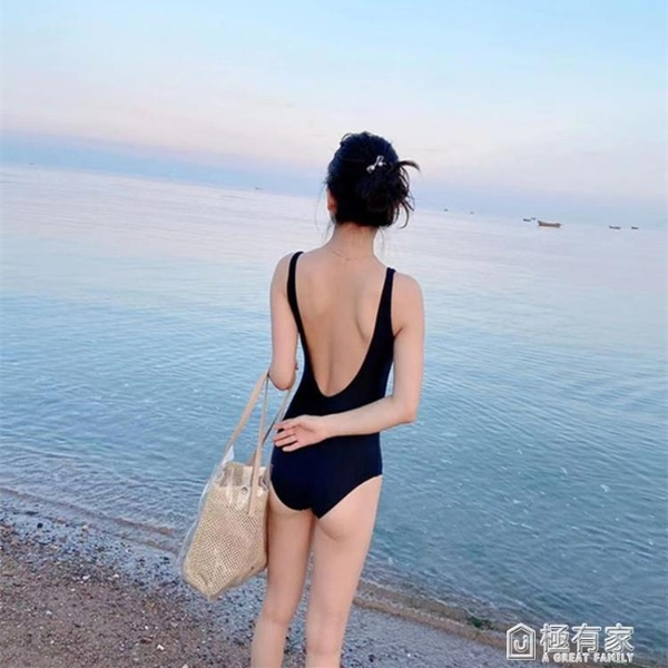 韓國性感遮肚顯瘦三角連身泳衣女露背黑色比基尼小胸聚攏溫泉泳裝 極有家