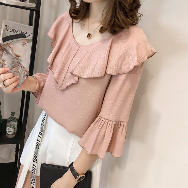 【GZ81】夏季新款韓版純色寬鬆雪紡襯衫 女七分袖荷葉邊上衣百搭打底衫