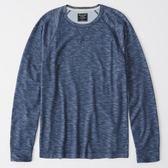 A & F 男織紋棉長袖T恤衫(深藍)