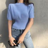 針織短袖 復古 chic風針織短袖t恤女短款 新款學生修身顯瘦上衣 中秋限時特惠