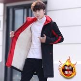 外套棉衣男中長款加絨加厚風衣秋冬季外套韓版潮流帥氣中學生冬裝棉服