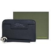 【南紡購物中心】LONGCHAMP LE PLIAGE NÉO系列防刮牛皮拉鍊零錢包(黑)