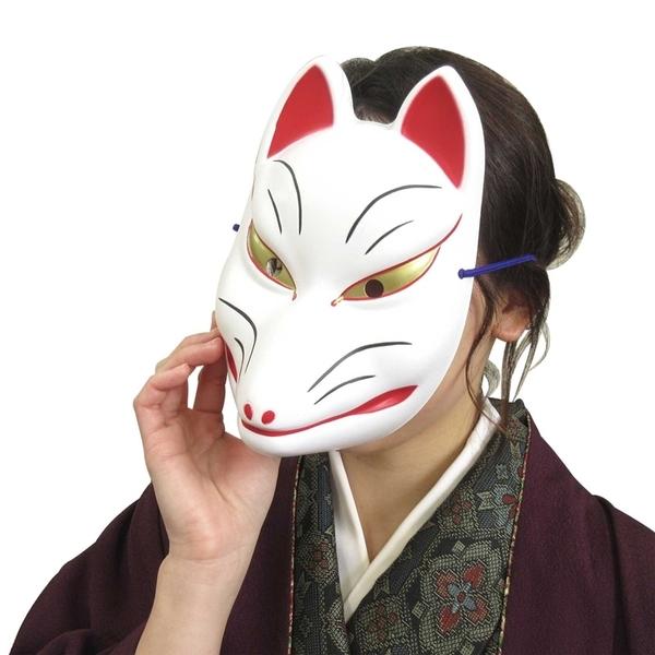 又敗家@日本和風全臉狐面具/半臉貓面具3345鬼滅の刃貓咪鬼滅之刃狐狸面具適萬聖節cosplay化妝舞會