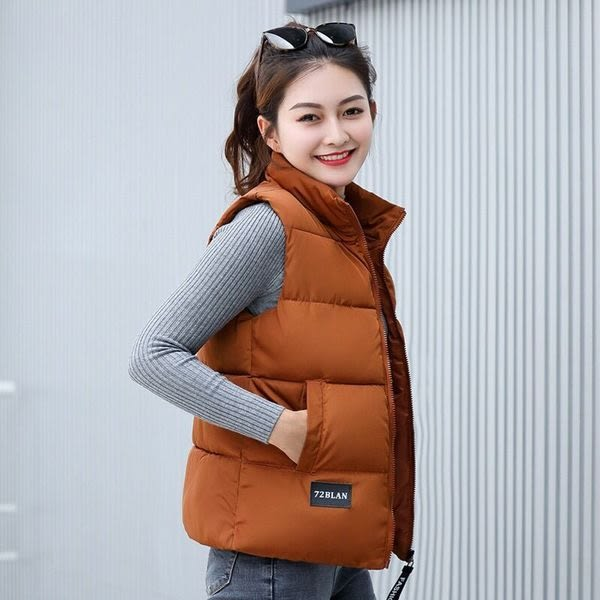 【現貨23】馬甲背心外套 韓版鋪棉馬甲 短版棉外套 無袖背心外套 M~焦糖色