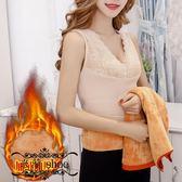 加絨背心 性感V領蕾絲拼接保暖內衣女加絨加厚塑身緊身背心無袖上衣打底衫