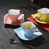 歐式陶瓷咖啡杯碟套裝家用簡約骨瓷下午茶套裝紅茶杯子套具送勺子