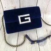 BRAND楓月 GUCCI古馳 544242 藍色 絨布 GLOGO水鑽 側背包 肩背包