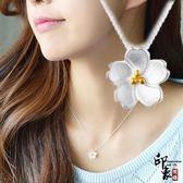 925純銀項鏈女簡約文藝日系櫻花鎖骨鏈創意個性花朵短款銀飾吊墜【聖誕交換禮物】