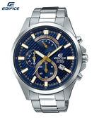 CASIO EDIFICE 藍金賽車款EFV-530D-2A原廠公司貨特製織紋藍金面板計時賽車腕錶47mm