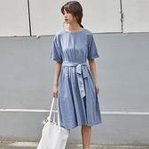 短袖洋裝-圓領綁帶蝴蝶結棉質連身裙2色73xm23【時尚巴黎】
