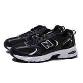 NEW BALANCE 530 男女款白 黑皮革網布 LOGO 休閒鞋 男女 (布魯克林) MR530SD