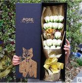 七彩金箔玫瑰花香皂花金玫瑰卡通花束禮盒生日禮物(1金箔18香檳皂花 黑金 黑盒)