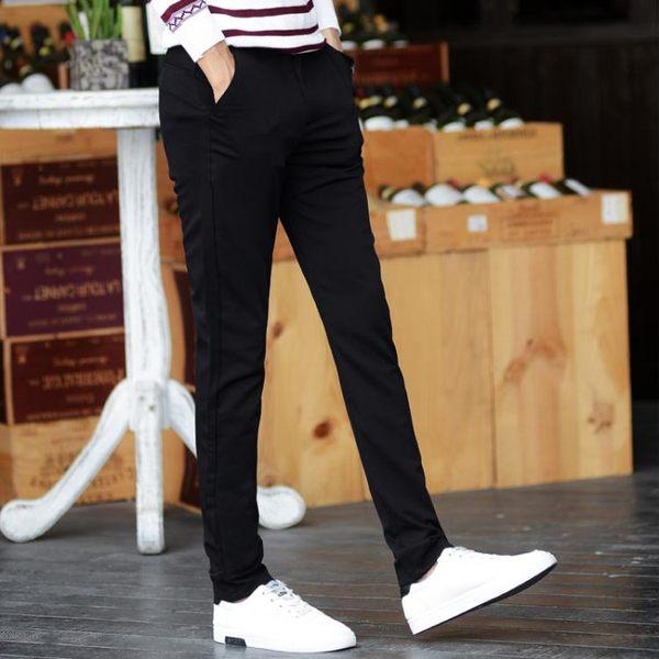 西褲-夏天黑色休閒褲男長褲小腳西裝褲修身潮青少年褲子男士小西褲薄款 依夏嚴選