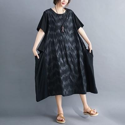 胖妹妹洋裝連身裙~8989#夏新胖MM款韓版印花棉麻大碼連身裙FFA28衣時尚