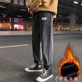 冬季牛仔褲男加絨加厚潮牌復古寬鬆直筒韓版潮流墜感長褲子潮 伊鞋本鋪