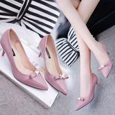 裸色高跟鞋女秋鞋女新款細跟中跟尖頭6cm時尚紅鞋性感新娘鞋三角衣櫥