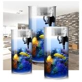 魚缸 圓柱形魚缸水族箱中小型 免換水過濾生態缸 透明玻璃 高清桌面缸 MKS卡洛琳