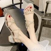 粗鞋女夏季百搭粗跟中跟一字帶水鑽高跟鞋糖糖女屋