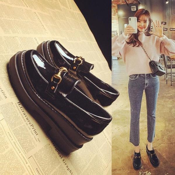鬆糕鞋 新款英倫坡跟單鞋女小皮鞋厚底鬆糕鞋韓版百搭學生樂福鞋 街頭