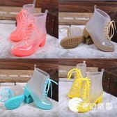 雨鞋-韓國新款時尚女士短筒馬丁雨鞋高跟水鞋防滑膠鞋中跟雨鞋水靴-奇幻樂園