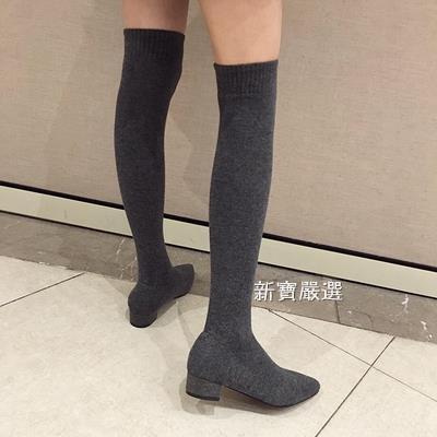 長筒靴 過膝長靴女2019新款秋季襪子彈力瘦瘦粗跟尖頭襪秋針織長筒靴【快速出貨】