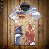 男士短袖t恤圓領修身上衣夏季日系內搭網眼男裝半袖國風舞獅子