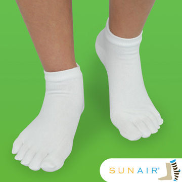 sunair 滅菌除臭襪子-短筒五趾襪 (M21~24.5) (白) /SA2303
