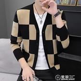 2020春秋季新款男士針織開衫潮流修身秋裝薄款毛衣外套外穿上衣服 聖誕節免運
