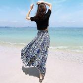 夏新款雪紡連衣裙波西米亞長裙女兩件套花裙子海邊度假沙灘裙