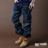 BIG TRAIN 銀線繡花貼袋垮褲-男-深藍