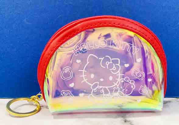 【震撼精品百貨】Hello Kitty 凱蒂貓~三麗鷗日本零錢包鎖圈-紅半圓*06707