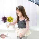 韓國童裝~點點拼接吊帶~蛋糕層次假兩件上衣(200284)★水娃娃時尚童裝★