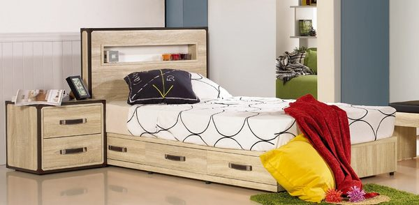 【森可家居】溫蒂3.5尺橡木紋單人床7JF052-3 北歐工業風 三抽屜床底 MIT台灣製造