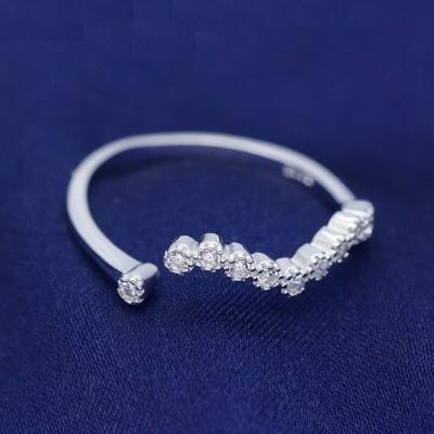 戒指 925純銀 鑲鑽-典雅波浪生日情人節禮物女開口戒73dt148【時尚巴黎】