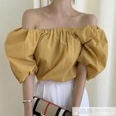 韓國夏季復古方領一字肩露肩兩穿泡泡袖襯衫女設計感小眾上衣  韓慕精品