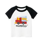 趣味車車圖案短袖上衣 消防車款 童裝 T-shirt T恤