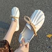 兩穿單鞋女平底軟底2019新款韓版百搭春季懶人一腳蹬豆豆鞋女拖鞋