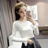 秋冬季新品女裝喇叭長袖針織衫女套頭修身顯瘦毛衣打底衫上衣