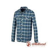 【wildland 荒野】男 彈性 T400格紋保暖襯衫『帝國藍』0A82202 戶外 休閒 運動 吸濕 排汗 快乾 舒適