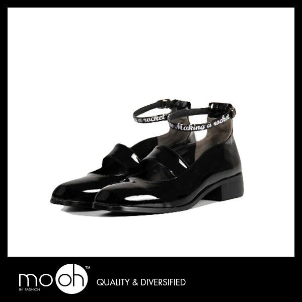 尖頭繞帶粗跟鞋 時尚蝴蝶結鏤空復古小皮鞋  mo.oh (歐美鞋款)