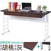 Homelike 查理140x40工作桌(加厚桌面-附二抽屜)桌面-胡桃/桌腳-炫灰