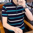 短袖上衣男富貴鳥夏季Polo衫短袖T恤男士大碼翻領條紋韓版中年爸爸上衣裝男 快速出貨