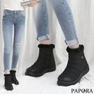 低溫必備拉錬輕量防風防潑水保暖短雪靴K0842黑(偏小)