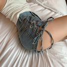 設計感 高腰 牛仔褲女 夏季 韓版 寬鬆 闊腿 短褲子 chic顯瘦 鑽扣A字熱褲