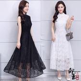 漢服唐裝無袖復古旗袍蕾絲連身裙中長款修身顯瘦長裙【99狂歡購物節】