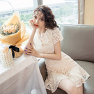 超殺29折 韓國風原創設計氣質女神蕾絲收腰短袖洋裝