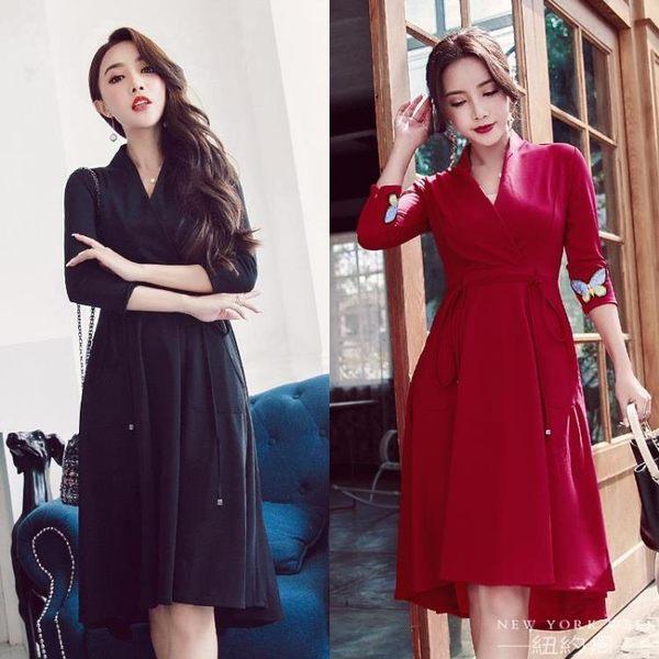 洋裝 名媛氣質酒紅色長袖中長款連身裙v領高腰綁帶大擺裙