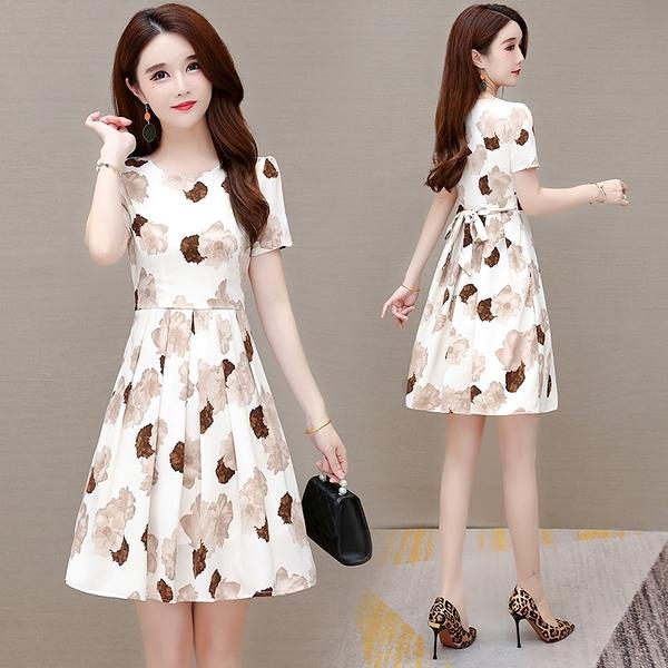 雪紡連身裙涼感洋裝A字裙顯瘦裙子M-4XL修身顯瘦時尚夏季裙子NE214-C.3501 1號公館