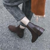 小短靴女新款秋冬學生百搭瘦瘦靴粗跟中跟踝靴平底短筒靴子女 【雙11特惠】
