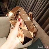 新款歐美時尚女包包晚宴金屬手拿包潮斜挎鏈條小方包宴會包 DR6460【Rose中大尺碼】